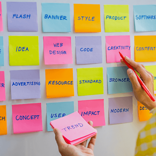 Post-its with marketing and brand strategy
