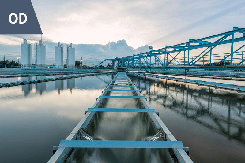 Bridge over industrial pond
